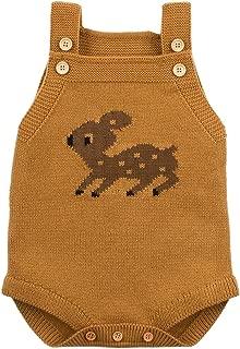 Ziyunlong Baby Boy Rompers Toddler Sleeveless Knit Baby Girl Jumpsuits Cartoon Cute Deer Overalls