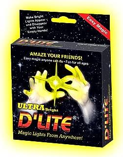 D'lite Junior Yellow Lightup Magic - Thumbs - Set of 2 Original Amazing Ultra Bright Light - Closeup & Stage Magic Tricks - Easy Illusion Anyone Can Do It - Free Training Video See Box (Jr, Yellow)