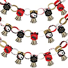 Big Dot of Happiness Las Vegas - 90 Chain Links and 30 Paper Tassels Decoration Kit - Casino Party Paper Chains Garland - 21 feet