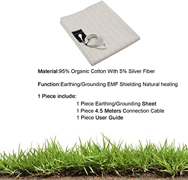 CONDUCTIVE Brand Grounding Flat Bed Sheet with Ground Connection Cord (80 x 60 inch ,Organic Cotton with Silver Fiber) for We
