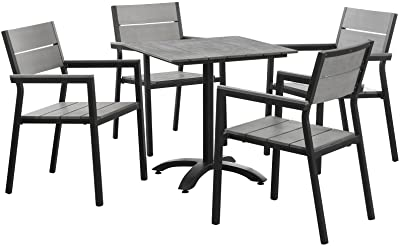 LexMod Maine Aluminum 5-Piece Outdoor Patio Dining Table and Chair Set in Brown Gray