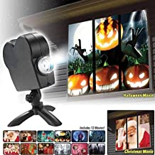 Haunted Halloween Projector - Display Stunning Holiday Movies in Your Window - 12 Short Movies Included