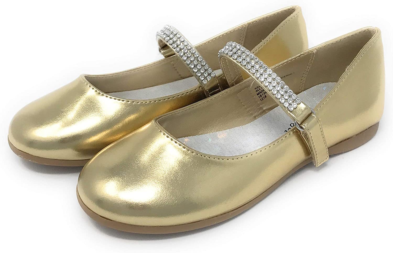 Daily bargain sale AADI Girl's Mary Fashionable Jane Ballerina Flat Strap Dress Rhinestone Gold