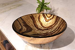 Enbol GS-L0048 16.5 Inch Tempered Glass Bathroom Vanity Vessel Sink Above Counter Gold Brown Standard Round Artistic Hand Wash Bowl with Mounting Ring