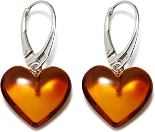 Heart Amber Dangle Earrings for Women - 925 Sterling Silver - Genuine Baltic Amber - Hypoallergenic