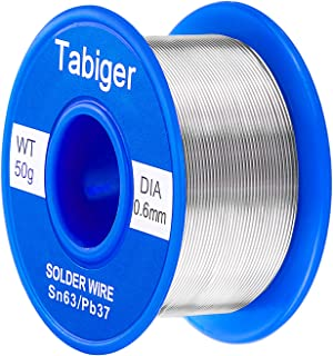 Tabiger 63/37 Tin Lead Rosin Core Solder Wire for Electrical Soldering and DIY (0.6mm 50g) with Extra 2% Rosin