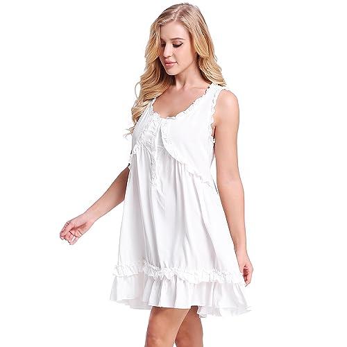 9a933f7d39 Womens Victorian Vintage Sleeveless Button Sleepwear Nightgown Ruffle Short  Dress by Nora TWIPS(XS-