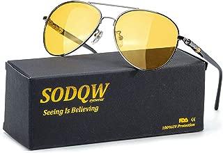 HD Polarized Night Vision Glasses, Classic Aviator Night Driving Glasses, Pilot Metal Frame for Men Women Night Driving
