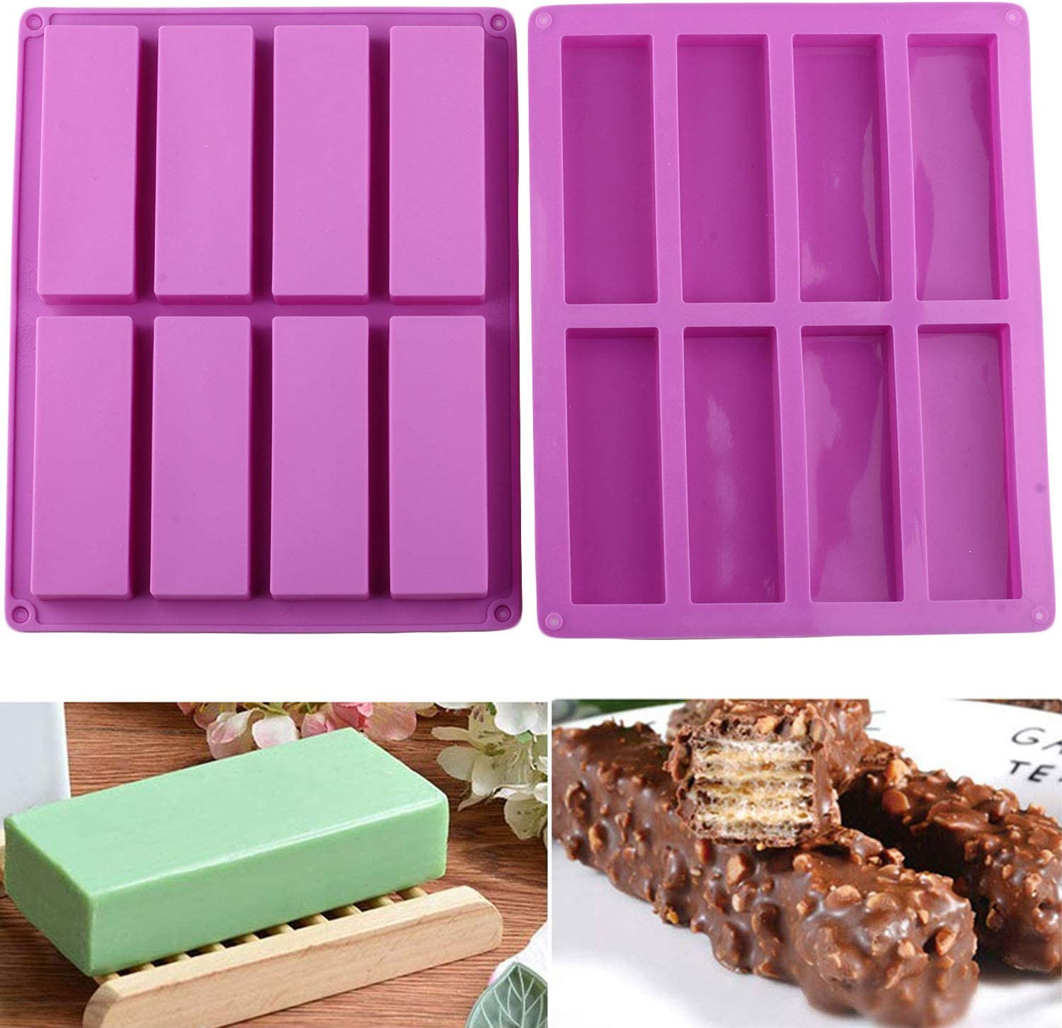 Mujiang 8 Cavity Large Rectangle Granola Bar Silicone Molds Nutrition Cereal Bar Molds Set of 2
