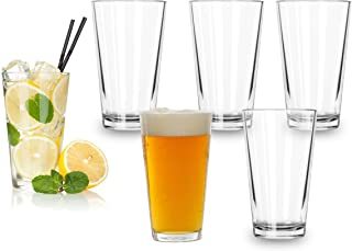 Classic Premium Beer Pint Glasses 16 Ounce – Set Of 6 Highball Cocktail Mixing Glass – Perfect for Cold Beverages, Soda, W...