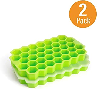 Ice Cube Trays, Arctico 2 Pack Food Grade Silicone Flexible Ice Cube Molds with Lid, BPA Free with Spill-Resistant Removable Lid Ice Cube Molds for Chilled Drinks, Whiskey & Cocktails