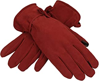 OZERO Womens Winter Gloves Sensitive Touch Screen Fingers, Genuine Deerskin Suede Leather Windproof Thermal Glove - Keep Warm in Cold Weather Women