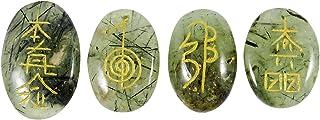 Harmonize Lots of 4 Pcs Prehnite avec Epidote Méditation Balancing Reiki Healing Pierre Karuna Symbole