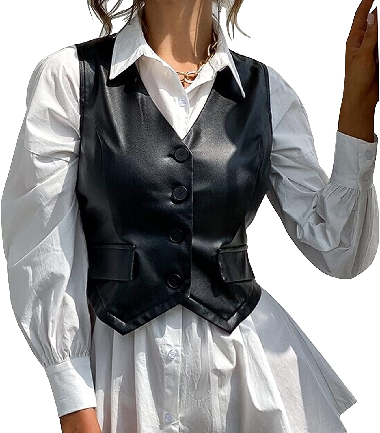Women's Casual Jackets,PU Leather Button Front Vest Jacket Without Dress
