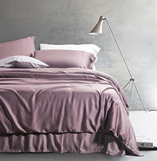 Solid Color Egyptian Cotton Duvet Cover Luxury Bedding Set High Thread Count Long Staple Sateen Weave Silky Soft Breathable Pima Quality Bed Linen (King, Twilight Mauve)