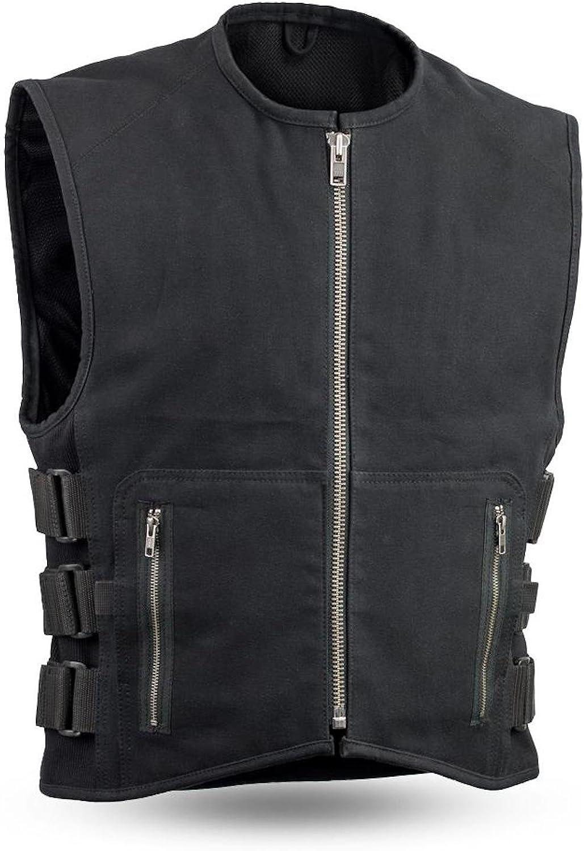 20 oz. SWAT Style Canvas Motorcycle Club Style Vest Gun Pockets CE Armor Back Pocket