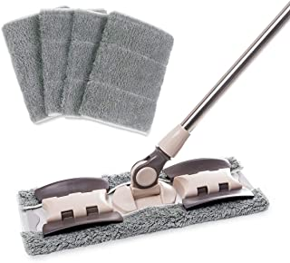Best MAYSHINE Microfiber Hardwood Floor Mop - 5 Washable & Reusable Flat Mops Cloths/Pads, for Wet or Dry Floor Cleaning Review