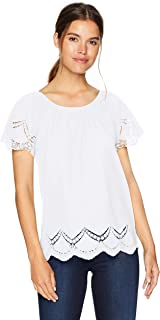 Women's Crochet Embroidered Cotton Top