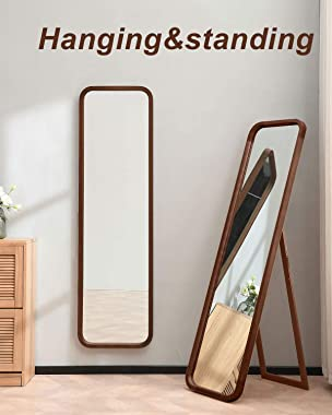 """TinyTimes 63""""×18"""" Wood Framed Full Length Mirror, Floor Mirror with Stand, Beech, Rounded Corner, Rustic Mirror, Free Standing or Wall Mounted, for Bedroom, Living Room, Dressing Room - Brown"""