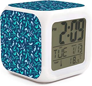 HOTMN Narwhal Crab Whale Octopus sea Life Style Cute Multifunction Digital Desk Alarm Clock with LED Touch Light Desk Watch Table Clock
