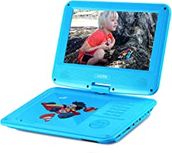 UEME Portable DVD CD Player with 9 Inches LCD Screen, Car Headrest Mount Holder, Remote Control, Wall Charger Car Charger, Kids DVD Player PD-0093 (Blue)
