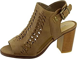 Aria-2 Women's Laser Cut Braided Accents Open Toe Chunky Stacked Heel Sandal