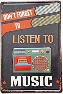 NEW DECO Don't Forget to Listen to Music, Metal Rustic Vintage Tin Sign Wall Decor Art 8X12 Inches( 20x30cm