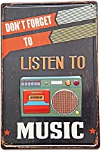 New Deco Don`t Forget To Listen To Music, Metal Rustic Vintage Tin Sign Wall Decor Art 8X12 Inches(20x30cm)