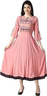 OM SAI LATEST CREATION Slub Rayon Fully Stitched Anarkali Kurti for Women & Girls on Jeans Palazzo or Skirt (Plus Size Upt...