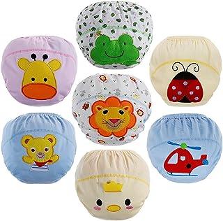 Lictin 7 PCS Braguitas de aprendizaje para niños Calzones de entrenamiento Bragas de aprendizaje reutilizables Pañales de tela Bebé ropa interior talla 2-3 años