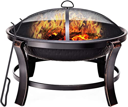 """lowest Giantex 30"""" Outdoor Firebowl, Portable Folding new arrival Fire Bowl with BBQ Grill Spark Screen Cover new arrival and Poker, Wood Burning Patio & Backyard Metal Round Firepit, Black & Goden online sale"""