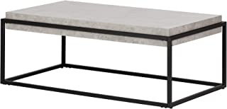 South Shore Mezzy Industrial Coffee Table, Concrete Gray and Black