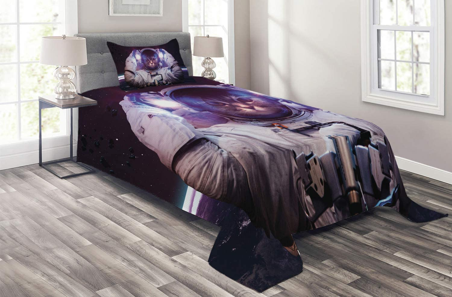 Shipping included Outlet sale feature Ambesonne Space Cat Coverlet Kitty Suit Cosmonaut Galaxy in