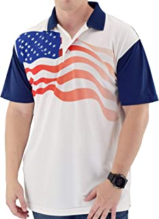 Made in America Mens USA Flag Polo Shirt