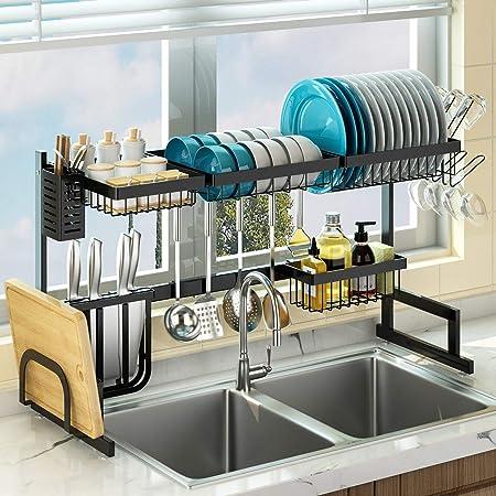 """Rejilla para secar platos sobre el fregadero (24 """"-40""""), escurridor de platos grande ajustable para la organización del mostrador de almacenamiento de la cocina, estante para platos sobre el fregadero de acero inoxidable de 2 niveles (60cm≤ tamaño del fregadero≤100cm, negro)"""
