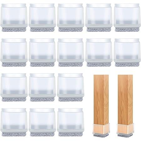 VABNEER Protector Patas Sillas, 16Pcs Cuadradas Transparentes Silicona Protector Sillas Patas con Almohadillas de Fieltro para Patas Cuadradas de la Sill (Cuadradas, 22-25mm)