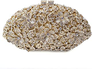 Runhuayou Women's Diamond Rhinestone Amber Luxury Evening Bag Wedding Celebration Coif Party Bridal Clutches Bags Chain Shoulder Diagonal Handbag Suitable for Females of All Ages on Any Occasions