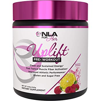 NLA for Her - Uplift - Pre-Workout Energy - Provides Clean/Sustained Energy, Supports Athletic Performance, Helps Fast Twitch Muscle Fiber Activation - Raspberry Lemonade - 40 Servings