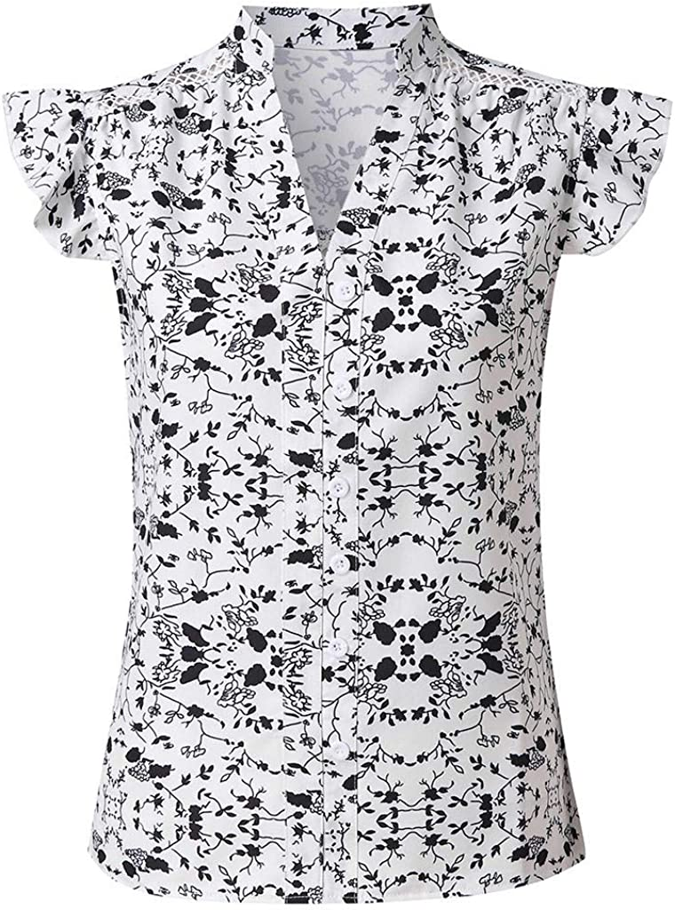 aihihe Womens Summer Sleeveless Button Down Blouse Vintage Floral Print T-Shirt Tunic Ruffle Vest Casual Tank Tops White