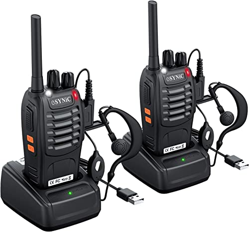 ESYNiC Walkie Talkies 2 pcs Long Range Two-Way Radio USB Cable Charging Walky Talky With Earpieces Flashlight 16CH Si...