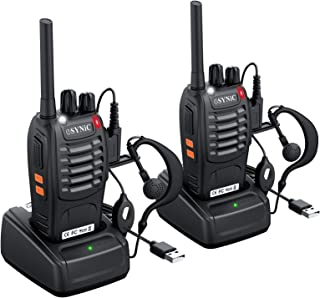 ESYNiC Walkie Talkies 2 pcs Long Range Two-Way Radio USB Cable Charging Walky Talky With Earpieces Flashlight 16CH Single ...
