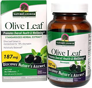 Nature's Answer Oleopein Olive Leaf Vegetarian Capsules, 60-Count Promotes Overall Good Health and Well Being* Alcohol-Fre...