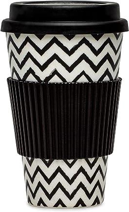 Preisvergleich für SIKORA CUP004 Coffee to Go Becher 400ml aus nachhaltiger Bambusfaser 100% BPA frei, Modell/Farbe:Zickzack Natur/schwarz