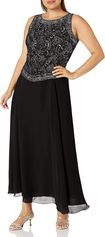J Kara Women's Size Beaded Gown with Scarf Plus