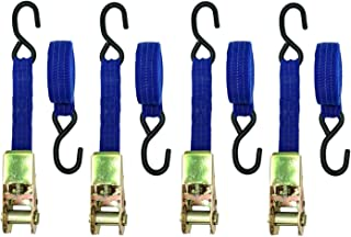 """BRUFER 03118 Ratchet Locking Tie-Down Straps, 1"""" X 15' Feet, 1500 Lb Capacity with PVC Coated Hooks - Bulk Pack of 4 Tie-Downs"""