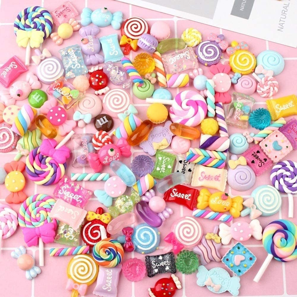 100 Pieces Slime Charms Mixed Candy Sweets Resin Flatback Slime Beads Making Supplies for DIY Scrapbooking Crafts
