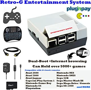 Retro-G Console Emulator mini Styled Classic Games Entertainment Computer System - Internet Browsing - YoutTube Video - Watch Movies - All-In-One Bundle Compatible with HDMI Video TV