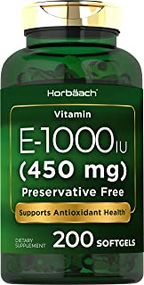 Vitamin E 1000 IU Softgel Capsules | 200 Count | Non-GMO, Gluten Free, Preservative Free | Vitamin E Oil | by Horbaach