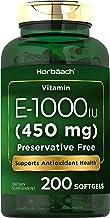 Vitamin E 1000 IU Softgel Capsules | 200 Count | Non-GMO, Gluten Free, Preservative Free | Vitamin E Oil | by Horbaach