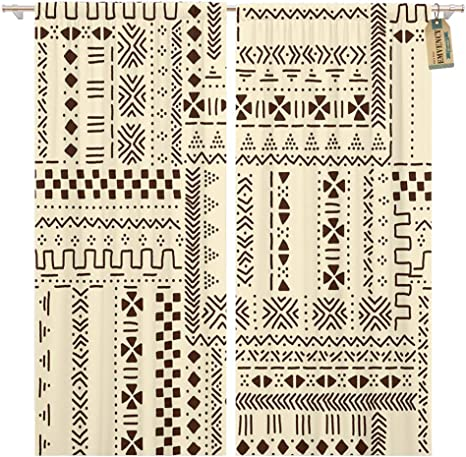 Golee Window Curtain Pattern Beige And Brown Traditional Ethnic African Mudcloth Geometric Home Decor Pocket Drapes 2 Panels Curtain 104 X 63 Inches Home Kitchen